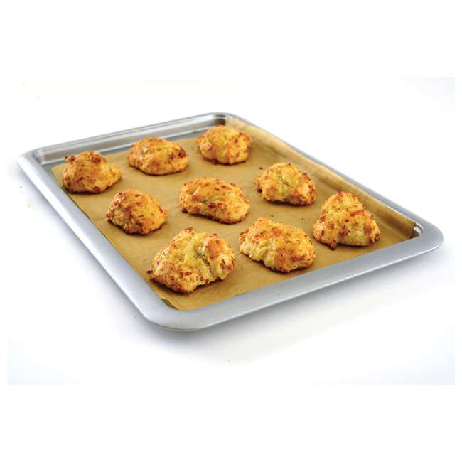 """3877 Norpro Non Stick 16.5"""" Steel Rimmed Full Baking Cookie Sheet, Silver (2 Pack) 5"""
