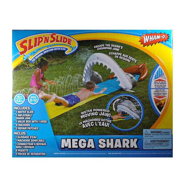 WMO-64762 Wham-O 16-Foot Mega Shark Slip-N-Slide Outdoor Water Slide Toy 5