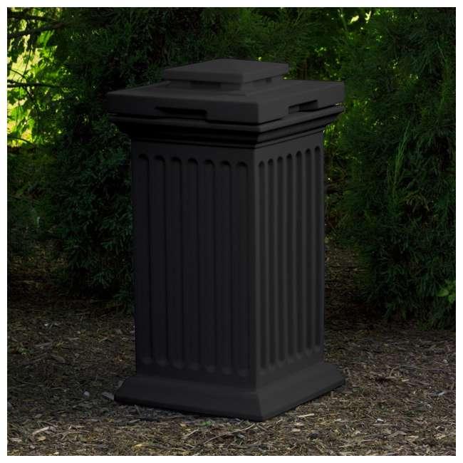 SV-COL-BLK Good Ideas Savannah Outdoor Patio Column 30 Gallon Storage and Waste Bin, Black 3