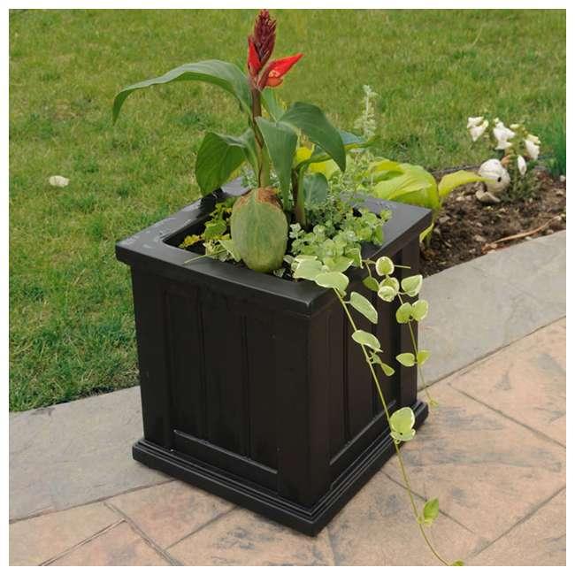 MO-4836-B Mayne Cape Cod Large 14 In Square Plastic Outdoor Flower Pot Planter Box, Black 2