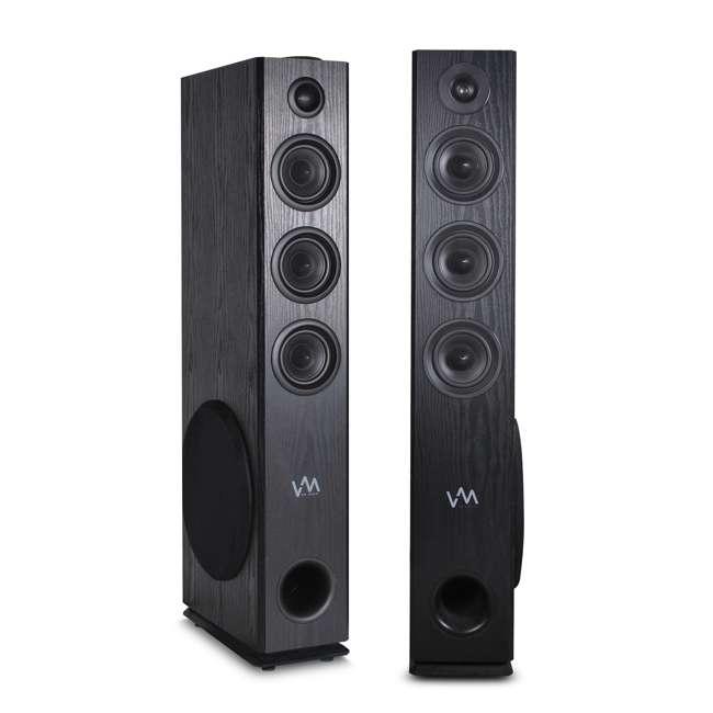 EXAT31-BK VM Audio EXAT31 Black Floorstanding Powered Bluetooth Tower Home Speakers Pair
