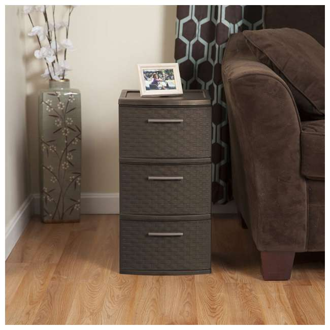 26306P02-U-A Sterilite 3 Drawer Wicker Weave Decorative Storage Tower (Open Box) (2 Pack) 3