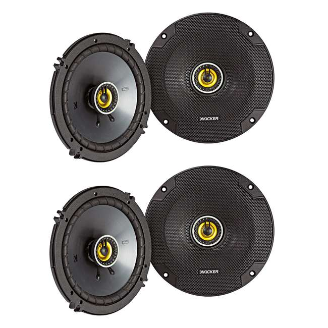 46CSC654 Kicker CS Series CSC65 6.5 Inch Car Audio Speaker with Woofers, Yellow (4 Pack)