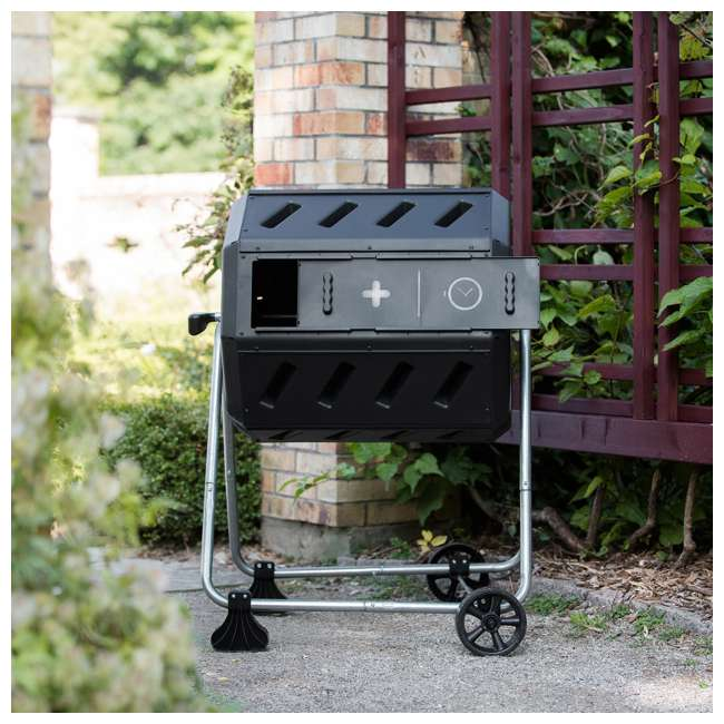IM4000-WK FCMP Outdoor IM4000-WK 37 Gallon Dual Chamber Quick Curing Rotating Tumbling Composter Bin 4