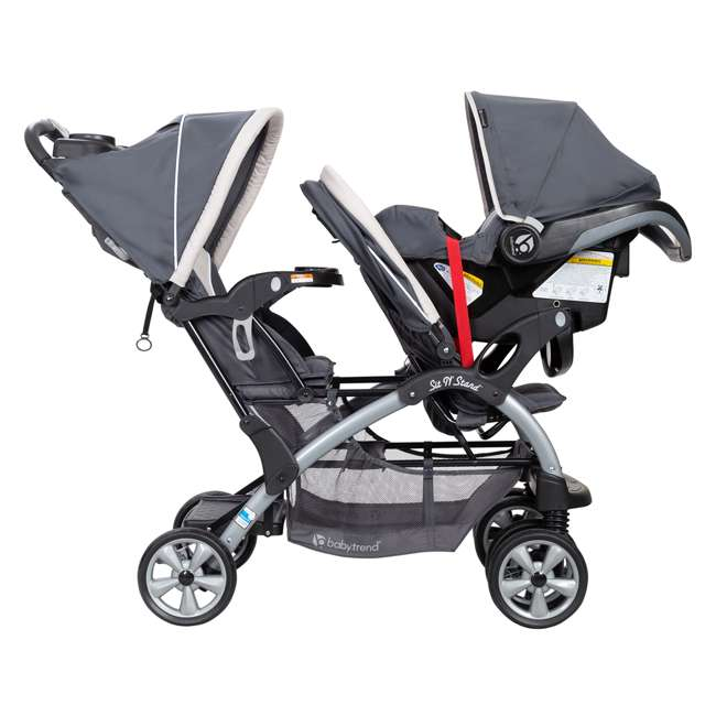 SS76C81A Baby Trend Sit N' Stand Easy Fold 5 Point Harness Double Stroller, Magnolia 6