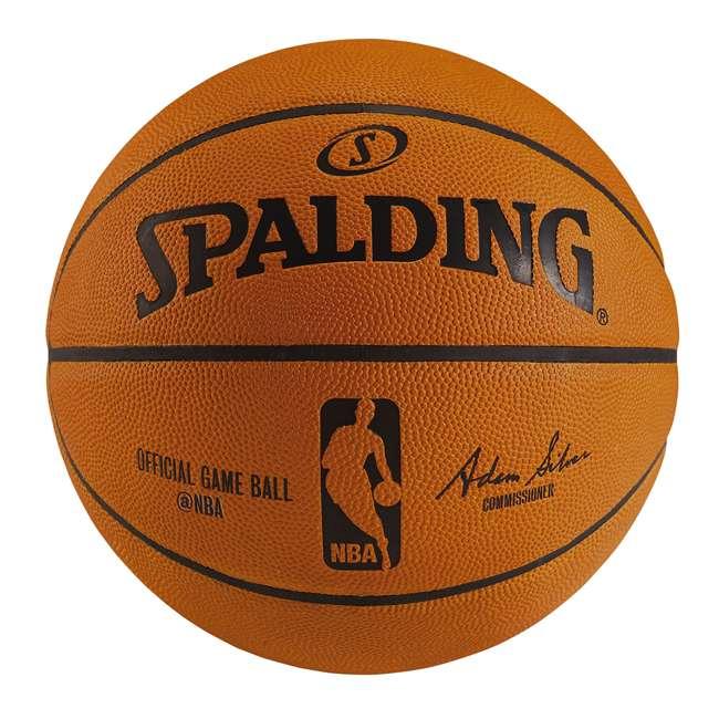 74876T Spalding Leather NBA Official Game Ball Full-Size Basketball