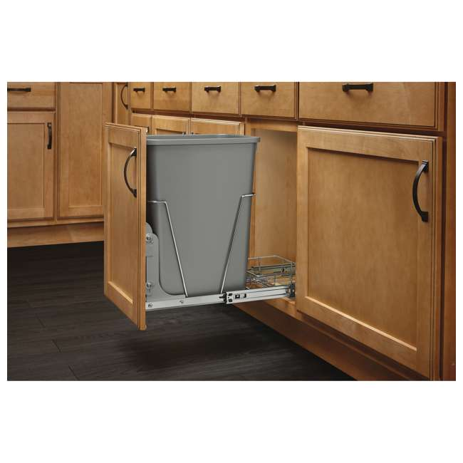 RV-12KD-17C S-30 Rev-A-Shelf RV-12KD-17C S 35 Quart Pull Out Waste Container with Basket, Silver 1