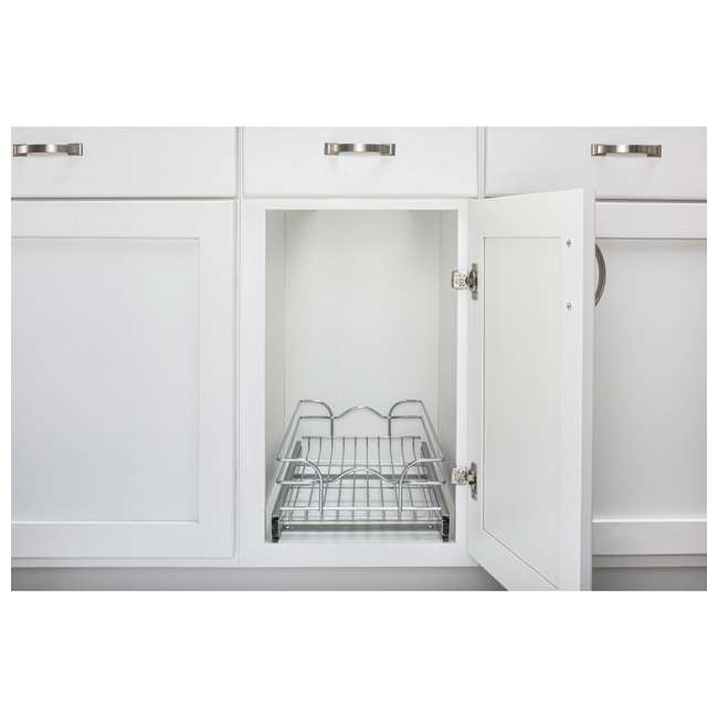"""5WB1-1220CR-1 Rev-A-Shelf 5WB1-1220CR-1 12"""" x 20"""" Single Kitchen Cabinet Pull Out Wire Basket 1"""