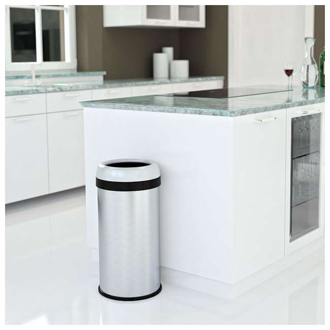 OL13STR iTouchless 13 Gallon Deodorizer Trash Can with Open Top, Stainless Steel 1