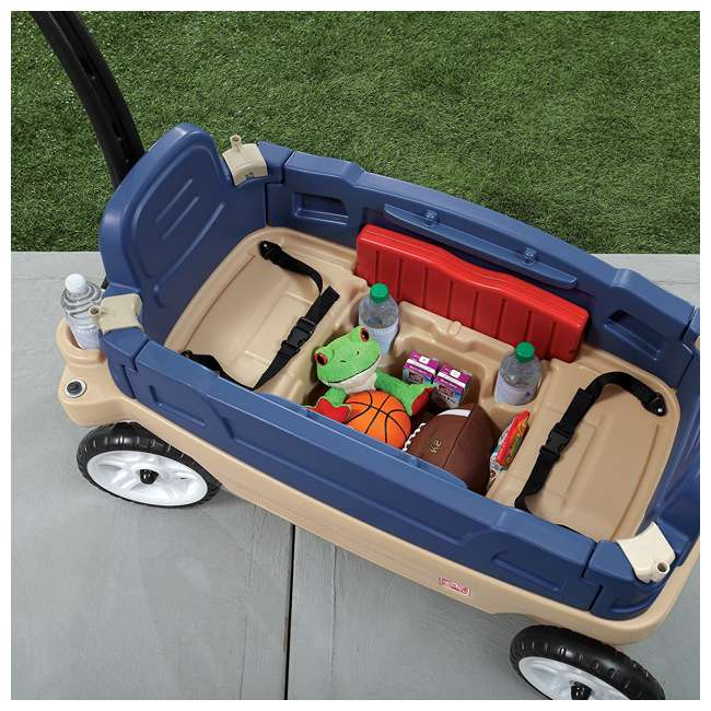837200-U-A Step2 Whisper Ride Touring Wagon II 3-in-1 Toddler Outdoor Canopy Pull Wagon (Open Box) 3
