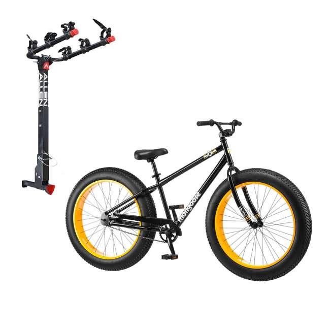 "R4140 + 532QR Mongoose 26"" Brutus Mens Alloy All Terrain Mountain Bike & 3 Bike Car Hitch Rack"