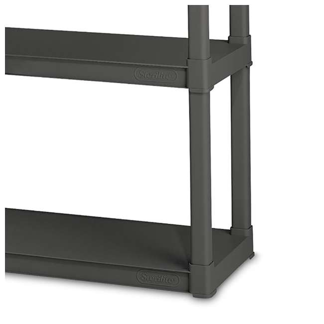 12 x 01643V01 Sterilite 4-Shelf Gray Shelving Unit, Flat Gray (12 Pack) 4