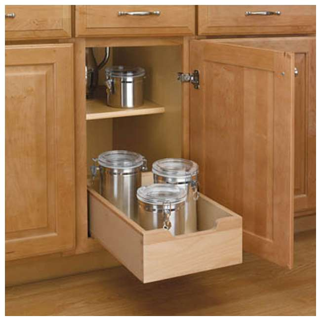 4WDB-12 Rev A Shelf Small Wood Base Kitchen Under Sink Cabinet Pull Out Drawer, Natural 2