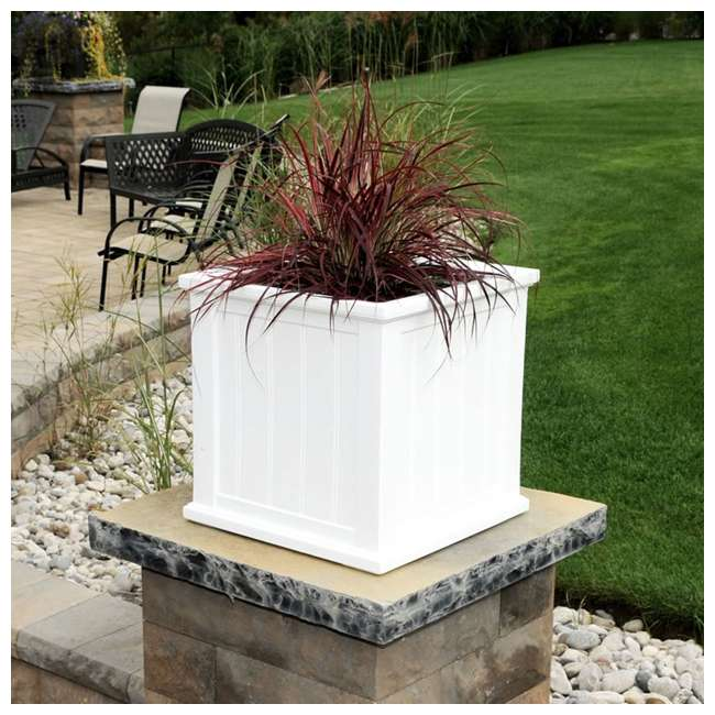 MO-4838-W Mayne Cape Cod Large 20 In Square Plastic Outdoor Flower Pot Planter Box, White 4
