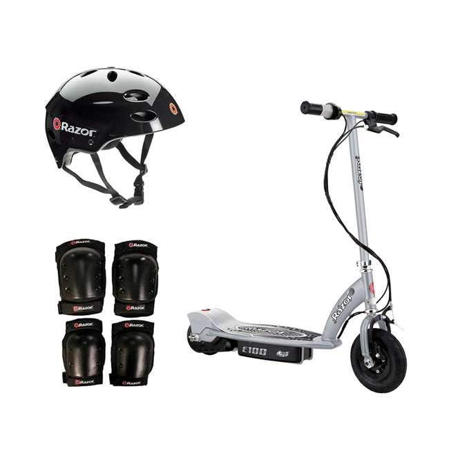 13181112 + 97778 + 96784 Razor E100 Motorized Silver Electric Scooter w/ Black Helmet & Deluxe Safety Set
