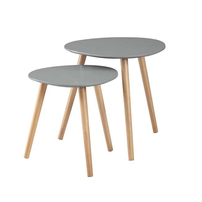 S20-303 Convenience Concepts S20-303 Oslo Modern Sturdy Wood Nesting End Tables, Gray