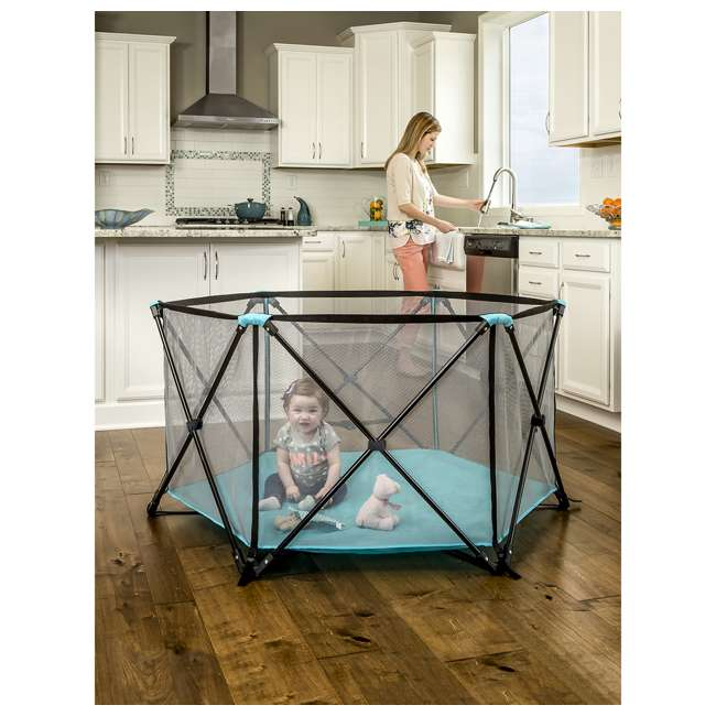 1375 DS Regalo 6 Panel My Play Deluxe Portable Foldable Play Yard with Canopy (Used) 3