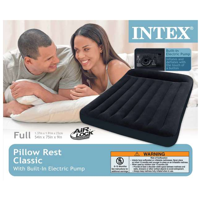 66776E Intex Classic Full Air Mattress With Built-In Pillow And Pump  5