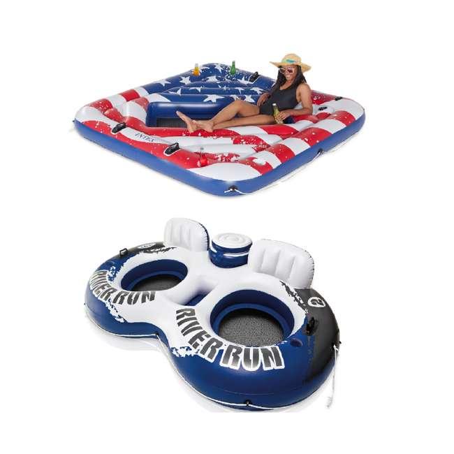 57264VM + 58837EP Intex Inflatable American Flag Pool Float & Intex River Run II Inflatable Pool Float