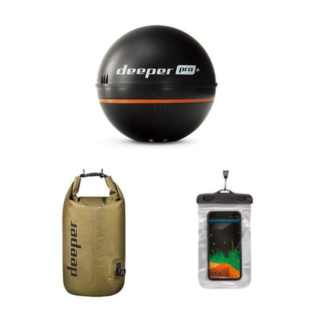 ITGAM0632 Deeper Pro+ Castable Fish Finder Sonar Bundle with Dry Bag and Phone Case