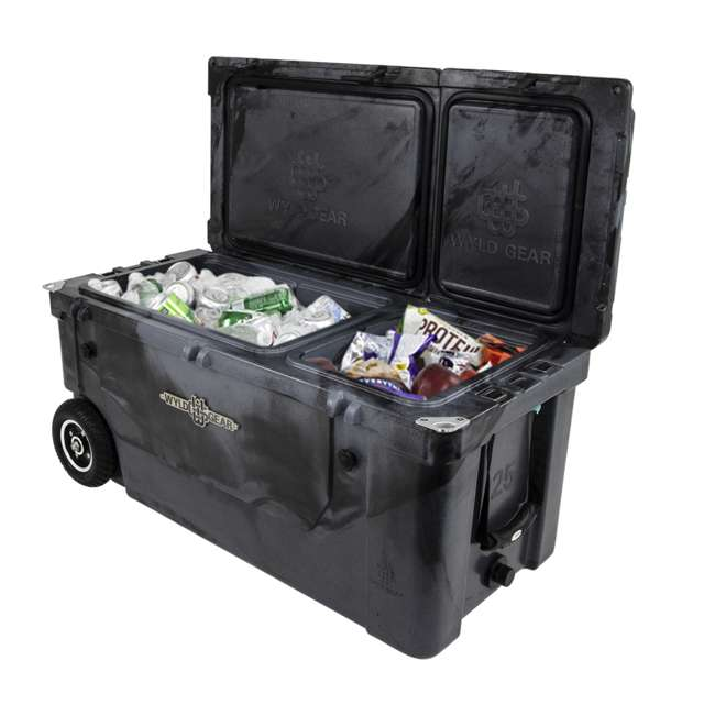 HC75-17SB WYLD 75 Quart Pioneer Dual Compartment Insulated Cooler w/ Wheels, Black/Silver 5