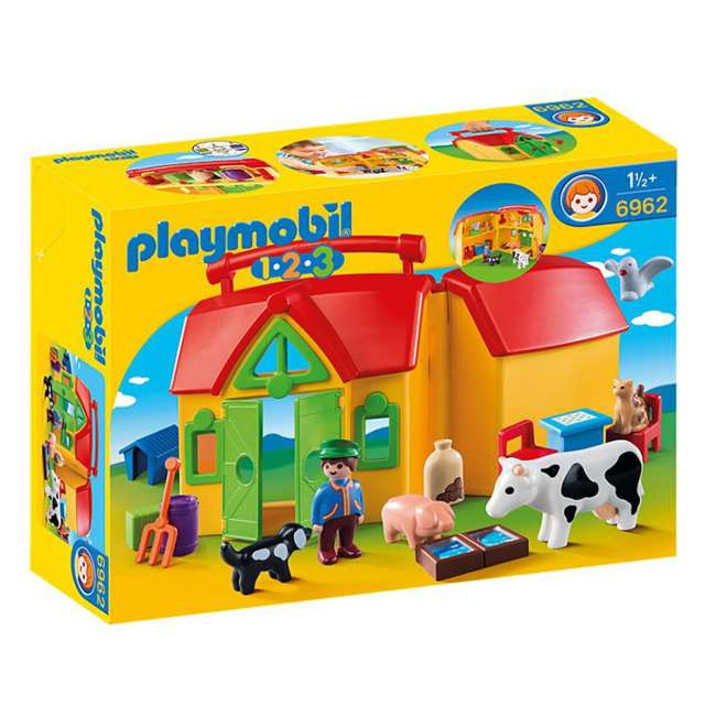 6962 Playmobil 6962 My Take Along Farm Doll House & Interactive Action Figures Set