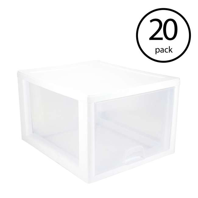 20 x 23108004 Sterilite 2310 27-Quart Single Stacking Drawer - Clear (20 Pack)