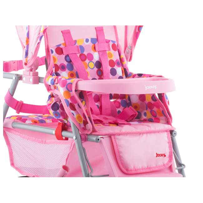 JVY-042 + JVY-002 Joovy Toy Doll Caboose Pretend Play Stroller & Car Seat, Pink Dot 3
