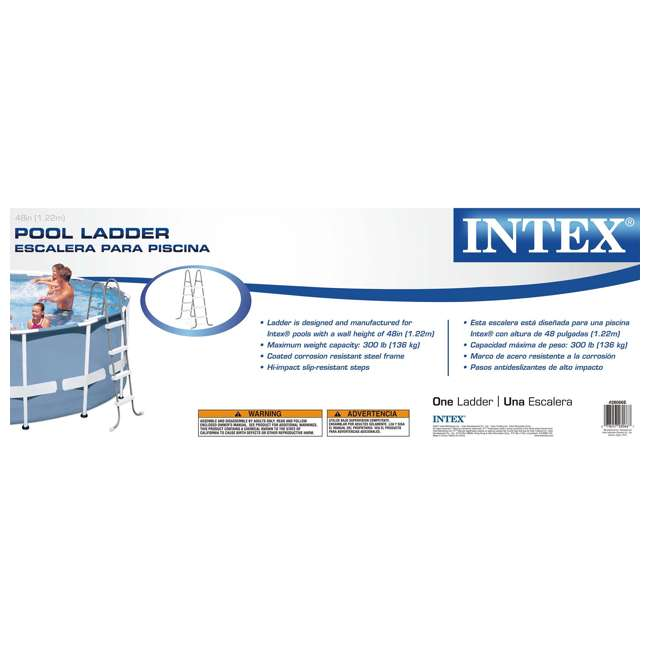 I28066 Intex Above Ground Pool Ladder for 48 Inch Wall Height Pool (Brown Box) 4