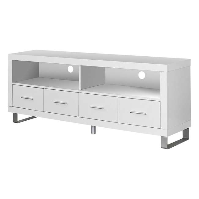 VM-2518 Monarch Contemporary Entertainment Center TV Stand w/ Storage, White (2 Pack) 4