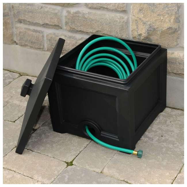 MO-5858-B Mayne Fairfield Plastic Outdoor 100 Ft Garden Water Hose Storage Box Bin, Black 1
