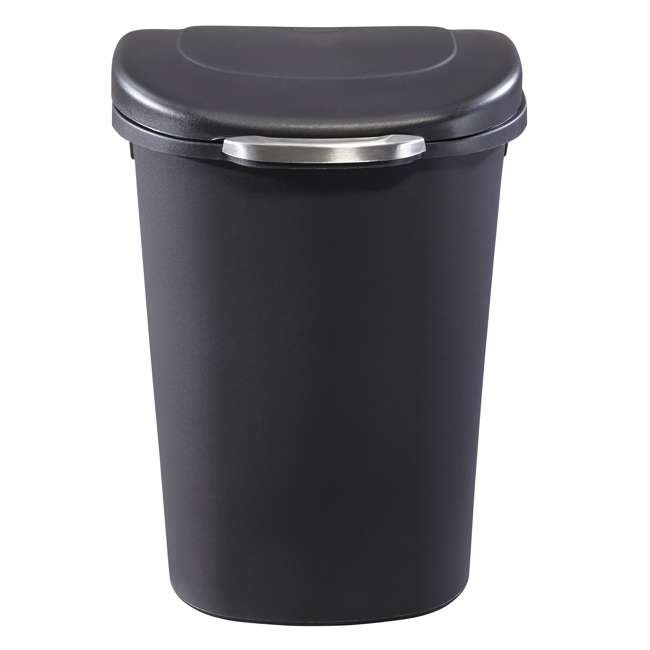 1843027 Rubbermaid Touch Top 13 Gallon Plastic Wastebasket Trash Can w/ Lid & Liner Lock 1