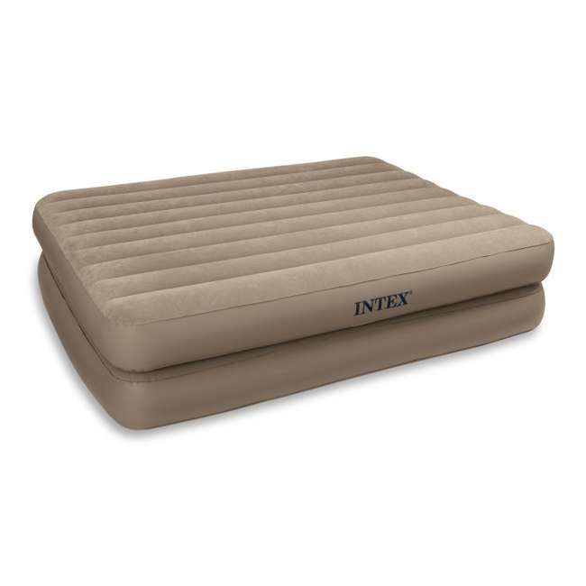 66709E + 5200029 INTEX Queen Raised Airbed with Pump & Blanket Cover 2