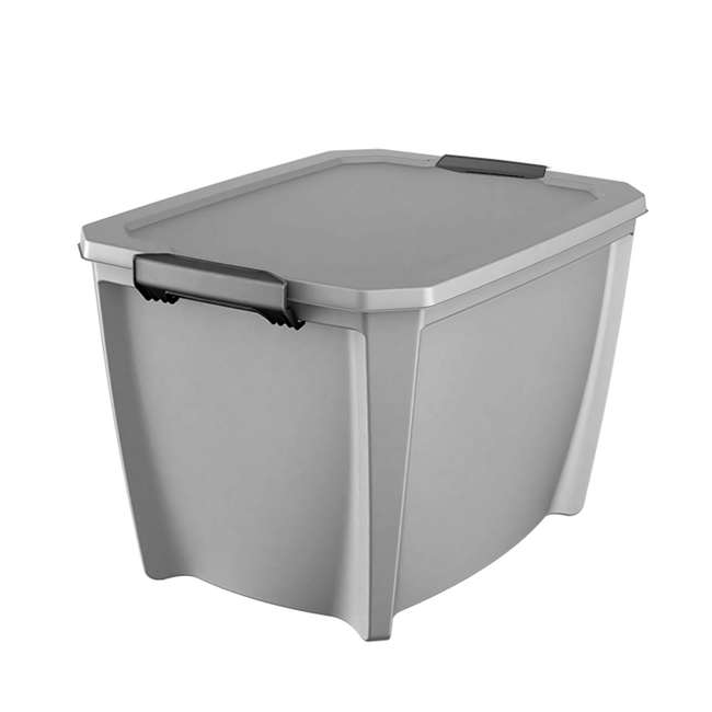 12 x T20GLSL Life Story Gray Latching Storage Tote, 20 Gallons (12 Pack) 1
