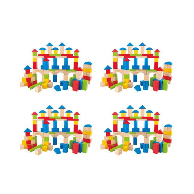4 x HAP-E0427 Hape Kid's Build Up and Away Wood Blocks Toy Set (4 Pack)