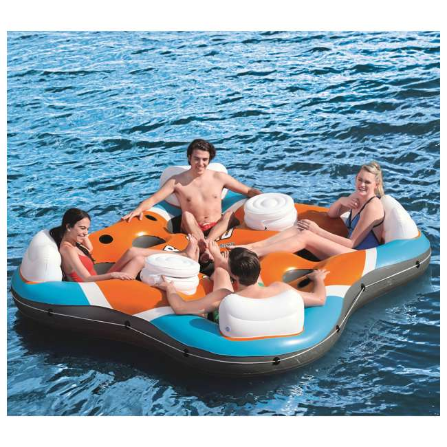 43115E-BW-U-A Bestway 101-Inch Rapid Rider 4-Person Floating Raft w/ Coolers (Open Box)(2 Pack) 4