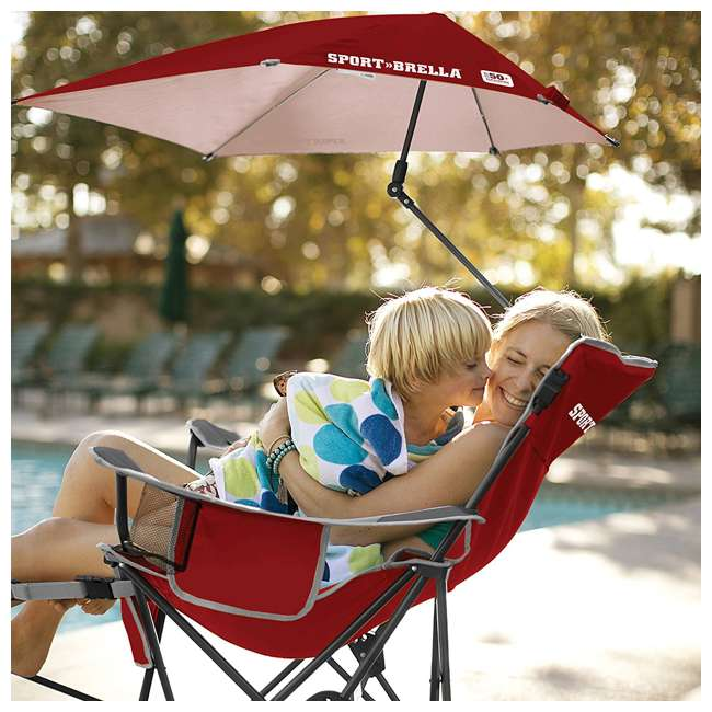 BRE03-620-01 Sport-Brella Umbrella Recliner Folding Chair, Red 2