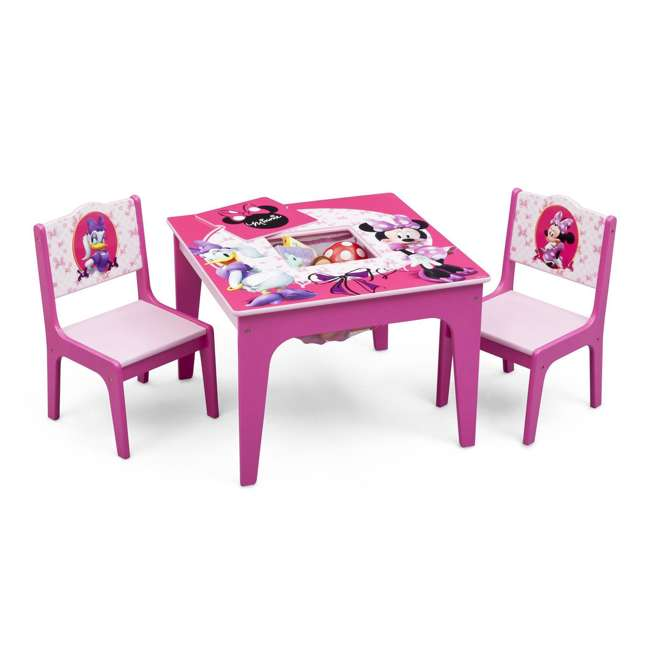 TT89500MN-1061 Delta Children Disney Minnie Mouse Deluxe Storage Table & Chairs 1