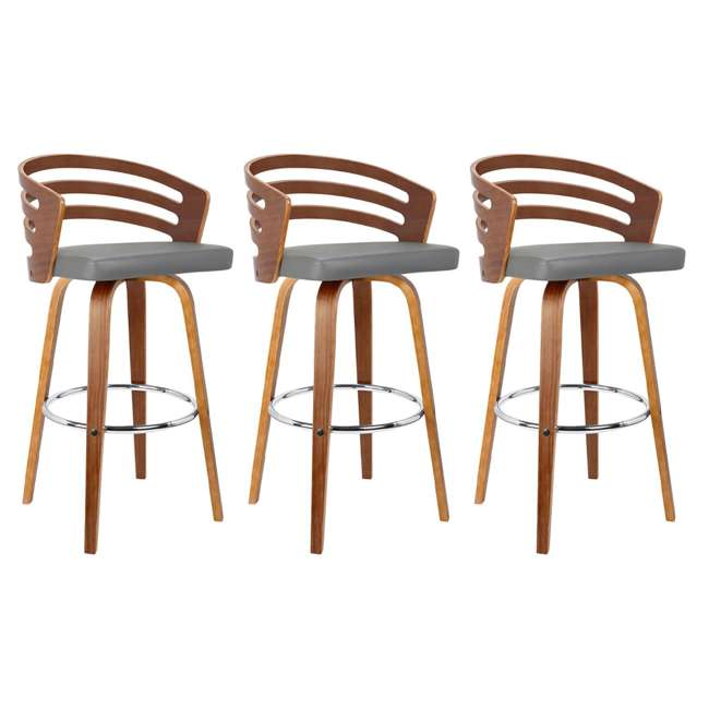 3 x LCJYBAGRWA30 Armen Living Jayden 30 Inch Mid Century Swivel Barstool Chair, Gray (3 Pack)