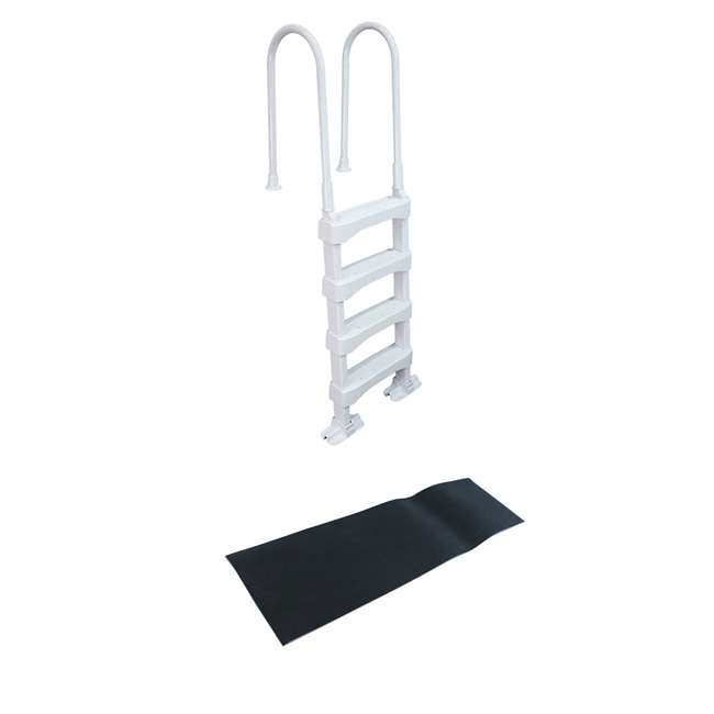 SLD2 + 87951 Vinyl Works 4 Step Ladder for 60 Inch Pool Walls w/ Swimming Pool Ladder Mat