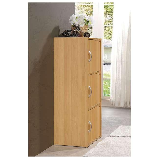 HID3 BEECH Hodedah 3 Door Enclosed Multipurpose Storage Cabinet for Home or Office, Beech 2