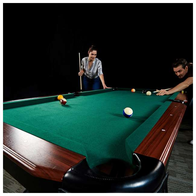 BLL090_128P Lancaster 90-Inch Full Size Green Pool Table w/ Leather Pockets, Cues, and Chalk 8