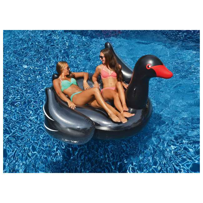 90628 Swimline Giant Inflatable Ride-On 75-In. Black Swan Pool Float(Open Box)(2 Pack) 1
