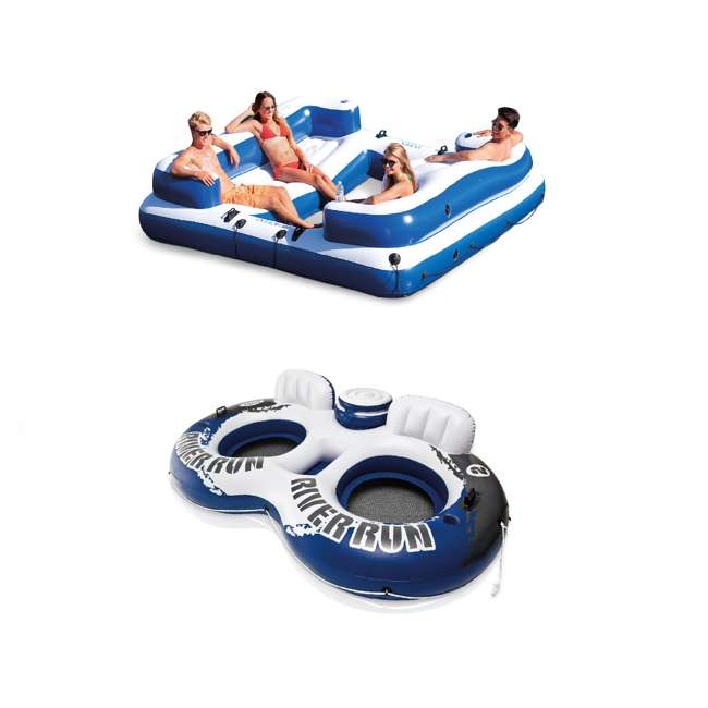 58293EP + 58837EP Intex Inflatable 5 Person Lounge Raft with Intex Inflatable Tube w/ Cooler