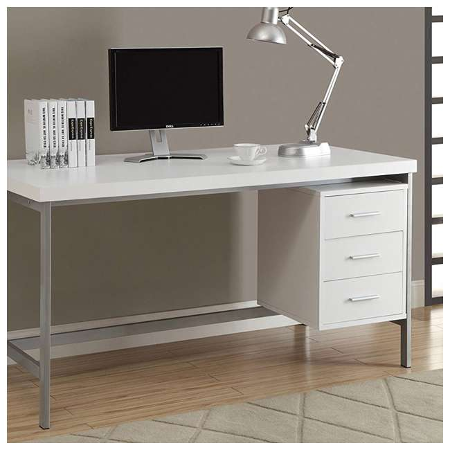 Monarch Specialties 60 Inch Computer Desk With Drawers, White