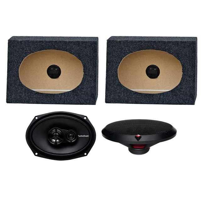 R169X3 + TW6X9 2) Rockford Fosgate R169X3 6x9-Inch 130W Speakers + 2) Angled 6x9-Inch Speaker Box (Package)