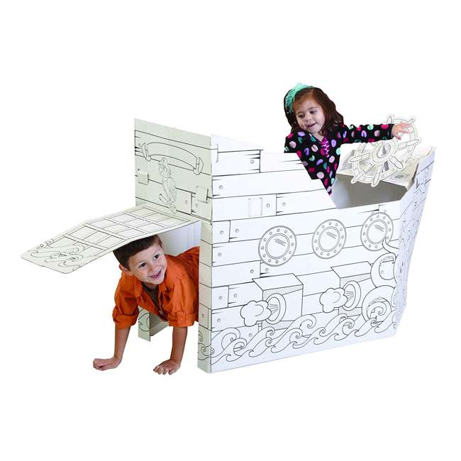 MP4428R My Very Own House Life-Size Coloring Playhouse Pirate Ship w/ 8 Jumbo Markers 3