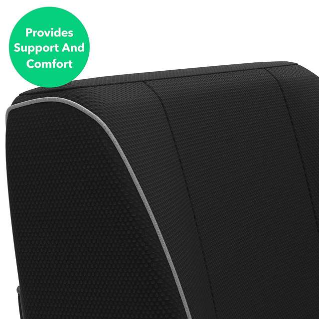 VRM050007N Vremi Premium Memory Foam Lumbar Back Support Pillow Hypoallergenic Cover, Black 2