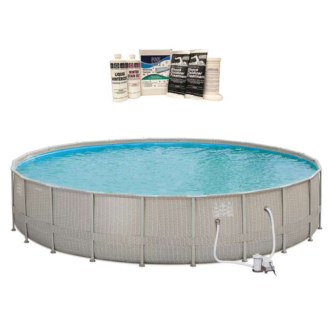 P4B02252B167 + QLC-57620 Summer Waves 22'x4' Elite Frame Wicker Print Pool & Winterizing Kit