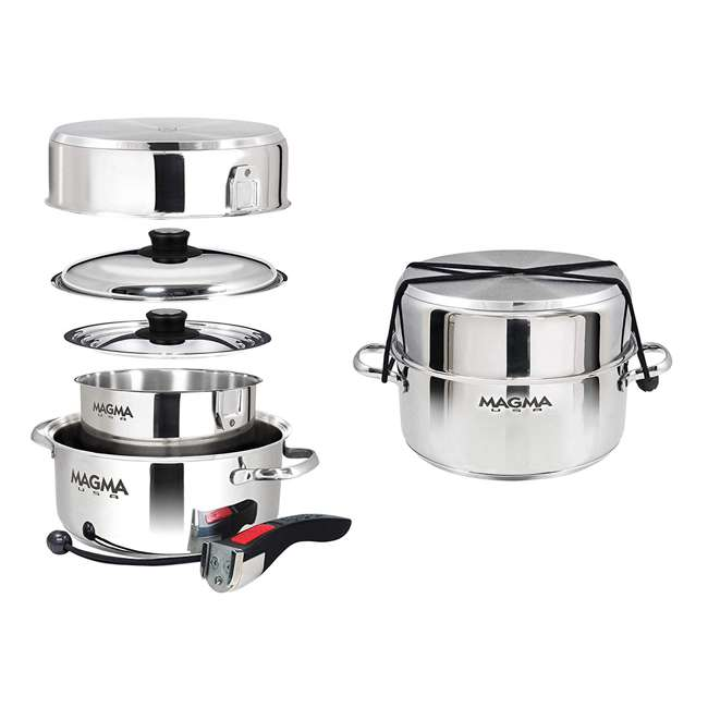 A10-362 Magma Products 7 Piece Stainless Steel Milled Flat Nesting Kitchen Cookware Set 1